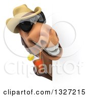 Poster, Art Print Of 3d Brown Cowboy Horse Wearing Shades And Drinking Tea Around A Sign