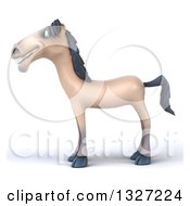 Clipart Of A 3d Happy Beige Horse Facing Left Royalty Free Illustration by Julos