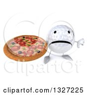 Clipart Of A 3d Unhappy Golf Ball Character Holding Up A Thumb Down And Pizza Royalty Free Illustration