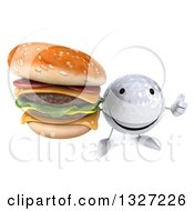 Clipart Of A 3d Happy Golf Ball Character Holding Up A Thumb And Double Cheeseburger Royalty Free Illustration