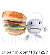 Clipart Of A 3d Unhappy Golf Ball Character Holding Up A Thumb Down And Double Cheeseburger Royalty Free Illustration