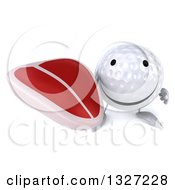 Clipart Of A 3d Happy Golf Ball Character Holding Up A Beef Steak Royalty Free Illustration