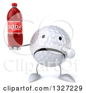 Clipart Of A 3d Unhappy Golf Ball Character Holding And Pointing To A Soda Bottle Royalty Free Illustration