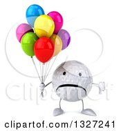 Clipart Of A 3d Unhappy Golf Ball Character Holding A Thumb Down And Party Balloons Royalty Free Illustration