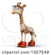 Clipart Of A 3d Bespectacled Giraffe Wearing Roller Blade Skates Facing Slightly Left Royalty Free Illustration