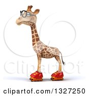 Clipart Of A 3d Bespectacled Giraffe Wearing Roller Blade Skates Facing Left Royalty Free Illustration