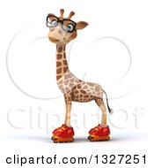 Clipart Of A 3d Bespectacled Giraffe Wearing Roller Blade Skates Looking At The Viewer And Facing Left Royalty Free Illustration