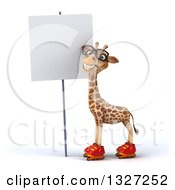 Clipart Of A 3d Bespectacled Giraffe Wearing Roller Blade Skates By A Blank Sign Royalty Free Illustration