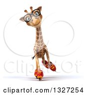 Clipart Of A 3d Bespectacled Giraffe Roller Blading Royalty Free Illustration