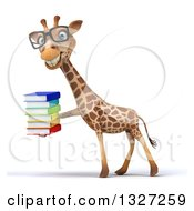 Clipart Of A 3d Bespectacled Giraffe Facing Left And Holding A Stack Of Books Royalty Free Illustration