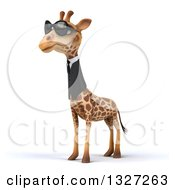 Clipart Of A 3d Business Giraffe Wearing Sunglasses Facing Slightly Left Royalty Free Illustration