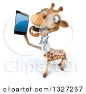 Clipart Of A 3d High View Of A Happy Doctor Or Veterinary Giraffe Facing Left And Talking On A Smart Phone Royalty Free Illustration by Julos