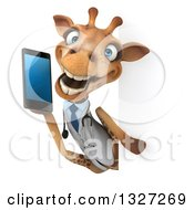 Clipart Of A 3d Happy Doctor Or Veterinary Giraffe Talking On A Smart Phone Around A Sign Royalty Free Illustration by Julos