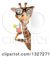 Clipart Of A 3d Giraffe Wearing Glasses And Drinking Tea Around A Sign Royalty Free Illustration