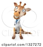 Clipart Of A 3d Happy Doctor Or Veterinary Giraffe Smiling Over A Sign Royalty Free Illustration by Julos
