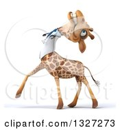 Clipart Of A 3d Happy Doctor Or Veterinary Giraffe Walking To The Left Tilting His Head Back And Laughing Royalty Free Illustration by Julos