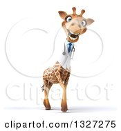 Clipart Of A 3d Smiling Happy Doctor Or Veterinary Giraffe Facing Slightly Right Royalty Free Illustration by Julos