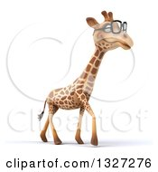 Clipart Of A 3d Bespectacled Giraffe Walking To The Right Royalty Free Illustration