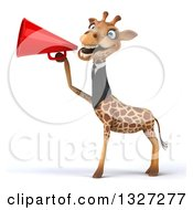 Clipart Of A 3d Business Giraffe Facing Left And Announcing With A Megaphone Royalty Free Illustration
