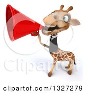 Clipart Of A 3d Business Giraffe Announcing With A Megaphone 2 Royalty Free Illustration