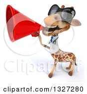 Clipart Of A 3d Happy Doctor Or Veterinary Giraffe Wearing Sunglasses And Announcing Upwards With A Megaphone Royalty Free Illustration by Julos