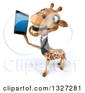 Clipart Of A 3d Business Giraffe Looking Up And Talking On A Smart Cell Phone Royalty Free Illustration by Julos