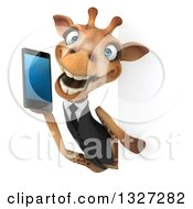 Clipart Of A 3d Business Giraffe Holding A Smart Cell Phone Around A Sign Royalty Free Illustration