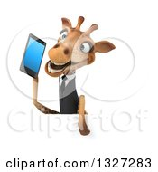 Clipart Of A 3d Business Giraffe Holding A Smart Cell Phone Over A Sign Royalty Free Illustration