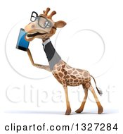 Clipart Of A 3d Bespectacled Business Giraffe Facing Left And Talking On A Smart Cell Phone Royalty Free Illustration