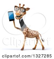 Clipart Of A 3d Bespectacled Business Giraffe Facing Left And Holding A Smart Cell Phone Royalty Free Illustration