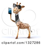 Clipart Of A 3d Business Giraffe Wearing Sunglasses Facing Left And Holding A Smart Cell Phone Royalty Free Illustration