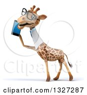 Clipart Of A 3d Bespectacled Happy Doctor Or Veterinary Giraffe Facing Left And Talking On A Smart Phone Royalty Free Illustration by Julos