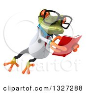 Clipart Of A 3d Bespectacled Green Doctor Springer Frog Leaping To The Right And Reading A Book Royalty Free Illustration