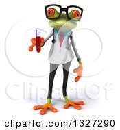 Clipart Of A 3d Bespectacled Green Doctor Or Scientist Springer Frog Holding A Test Tube With Blood Royalty Free Illustration