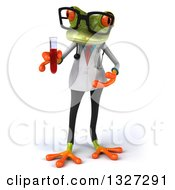 Clipart Of A 3d Bespectacled Green Doctor Or Scientist Springer Frog Presenting And Holding A Test Tube With Blood Royalty Free Illustration