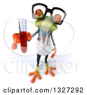 Clipart Of A 3d Bespectacled Green Doctor Or Scientist Springer Frog Holding Up A Test Tube With Blood Royalty Free Illustration