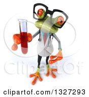 Clipart Of A 3d Bespectacled Green Doctor Or Scientist Springer Frog Holding Up And Presenting A Test Tube With Blood Royalty Free Illustration