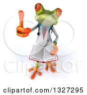 Clipart Of A 3d Green Doctor Springer Frog Holding Up A Thumb And A Book Royalty Free Illustration