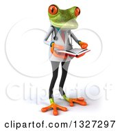 Clipart Of A 3d Green Doctor Springer Frog Facing Slightly Right And Reading A Book Royalty Free Illustration