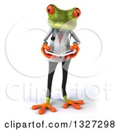 Clipart Of A 3d Green Doctor Springer Frog Reading A Book Royalty Free Illustration