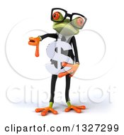 Clipart Of A 3d Bespectacled Green Business Springer Frog Giving A Thumb Down And Holding A Dollar Symbol Royalty Free Illustration