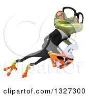 Clipart Of A 3d Bespectacled Green Business Springer Frog Leaping To The Right And Holding A Dollar Symbol Royalty Free Illustration