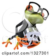 Clipart Of A 3d Bespectacled Green Business Springer Frog Leaping To The Right And Holding A Dollar Symbol 2 Royalty Free Illustration