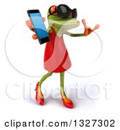 Clipart Of A 3d Green Female Springer Frog Wearing Sunglasses Facing Right Walking Gesturing Call Me And Holding A Smart Cell Phone Royalty Free Illustration by Julos