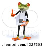 Clipart Of A 3d Green Business Springer Frog Holding A House And Giving A Thumb Up Royalty Free Illustration