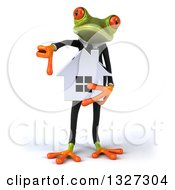 Clipart Of A 3d Green Business Springer Frog Holding A House And Giving A Thumb Down Royalty Free Illustration