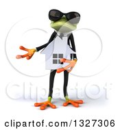 Clipart Of A 3d Green Business Springer Frog Wearing Sunglasses Presenting And Holding A House Royalty Free Illustration