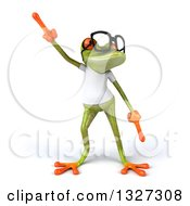Clipart Of A 3d Bespectacled Casual Green Springer Frog Wearing A White T Shirt And Dancing Royalty Free Illustration