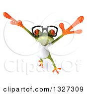 Clipart Of A 3d Bespectacled Casual Green Springer Frog Wearing A White T Shirt Leaping Upwards Royalty Free Illustration