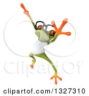 Clipart Of A 3d Bespectacled Casual Green Springer Frog Wearing A White T Shirt Facing Slightly Left And Leaping Royalty Free Illustration